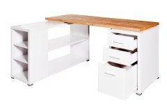 CLB 355 E von Jahnke - Schreibtisch mit Container Kerneiche-weiß