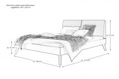 Simone von Hasena - Bett 180x200 cm Kernbuche/ grau mit Traverse