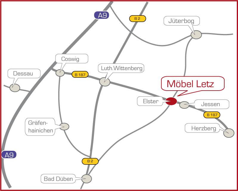 Anfahrt Möbel Letz in Elster
